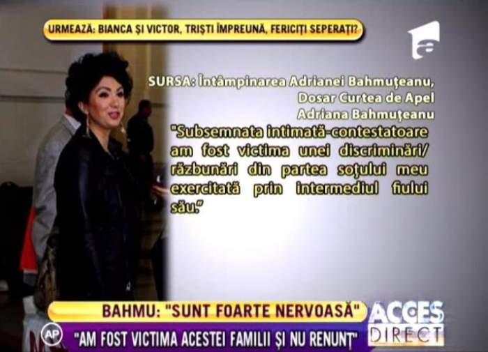 """Adriana Bahmuţeanu e foc şi pară: """"M-au dat afară ilegal, sunt o victimă a acestei familii"""""""