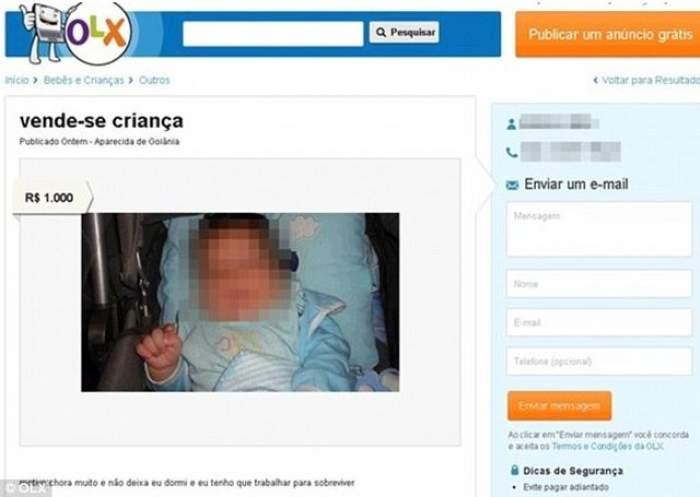 Strigător la cer! Un copil a fost vândut pe internet pentru 267 euro!