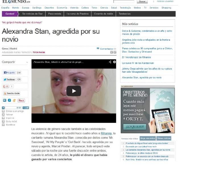 Vestea că Alexandra Stan a fost bătută crunt a ajuns şi în paginile marilor publicaţii din străinătate! Iată cum tratează presa de afară cazul!