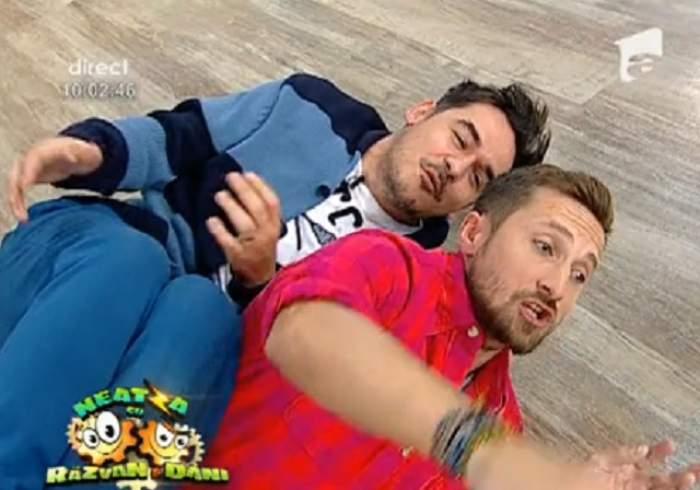 VIDEO Nu i-ai mai văzut niciodată în poziţia asta pe Răzvan şi Dani! Uite ce făceau pe jos în platoul emisiunii