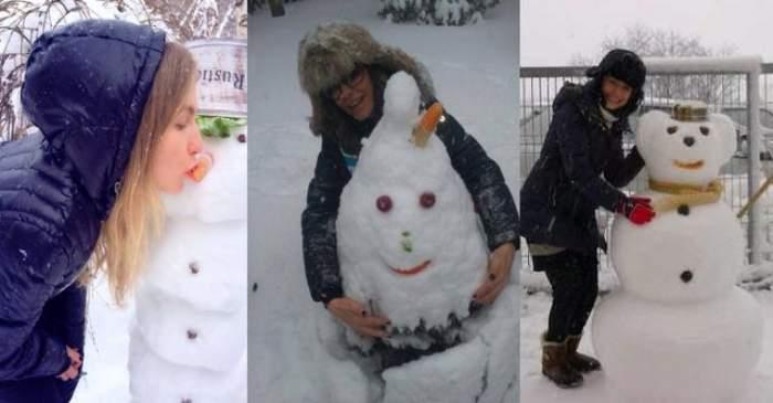 FOTO S-au bucurat ca nişte copii de ninsoare! Vedetele şi oamenii lor de zăpadă. Care-ţi place mai mult?