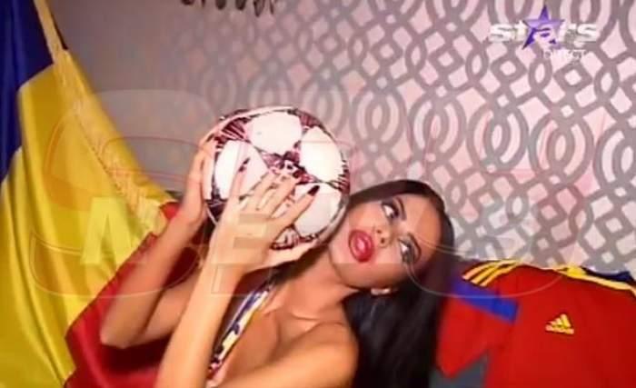 Renata, cel mai sexy suporter al echipei naţionale de fotbal! A pozat aproape goală, cu mingea-n braţe