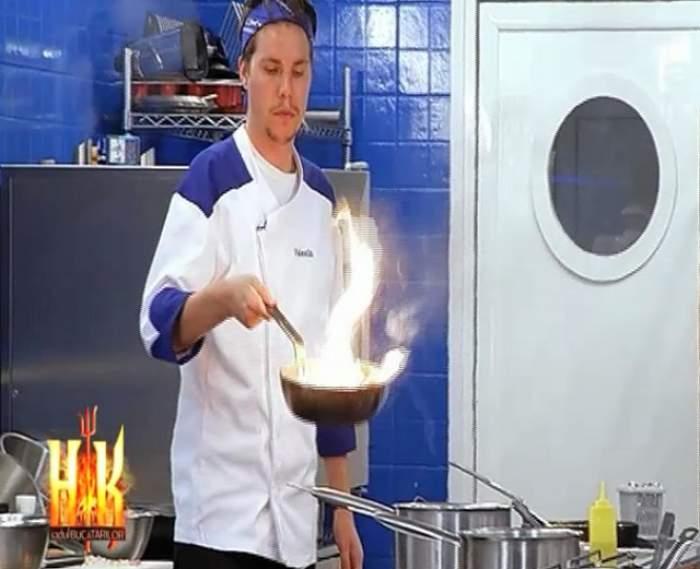 """""""Hell's Kitchen - Iadul Bucătarilor"""", în flăcări! Un concurent a uitat mâncarea pe foc"""