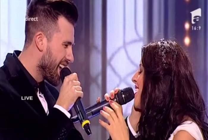 """VIDEO / Florin Ristei şi frumuseţea de la """"X Factor"""", Nicoleta Nucă, momente tandre pe scenă"""