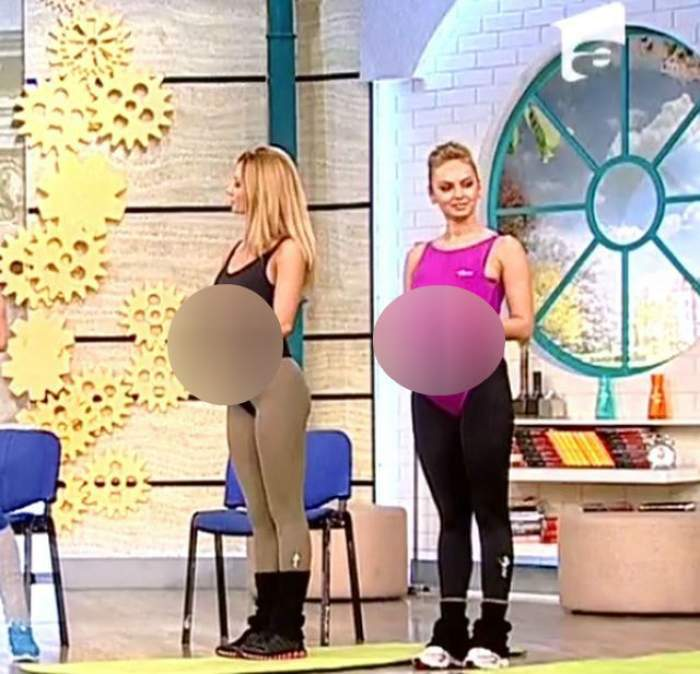 VIDEO Roxana şi Flavia sunt însărcinate? Uite ce burţi mari au şi cum fac exerciţii pentru graviduţe