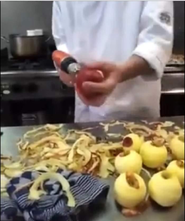 VIDEO/ O să râzi în hohote! Cum să cureţi mere rapid, cu BORMAŞINA!