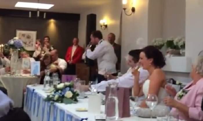 VIDEO / Cel mai haios moment! Ce a făcut prietenul mirelui i-a făcut pe nuntaşi să râdă cu lacrimi