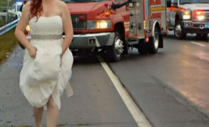 VIDEO / O fotografie cu o mireasă la locul unui accident a devenit virală. Gestul ei e discutat de toată lumea