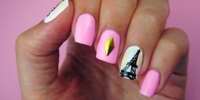 Te-ai plictisit de manichiura cu o singură culoare? Desenează-ţi turnul Eiffel pe UNGHII! Este foarte SIMPLU şi arată FANTASTIC