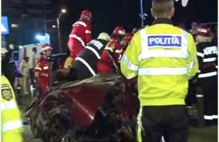 Accident TERIBIL în Capitală! PATRU persoane au fost rănite grav, după ce maşina în care se aflau s-a făcut praf