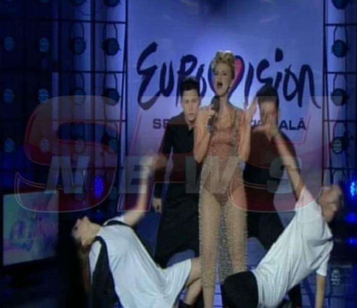 """VIDEO /  Ups, cineva a uitat să se epileze la Eurovision! Cristina Vasiu şi-a afişat """"tufişul"""" din lenjeria intimă?"""
