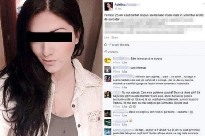 """O româncă oferă 500 de euro celui care o lasă gravidă: """"Nu vreau iubit sau soţ"""""""