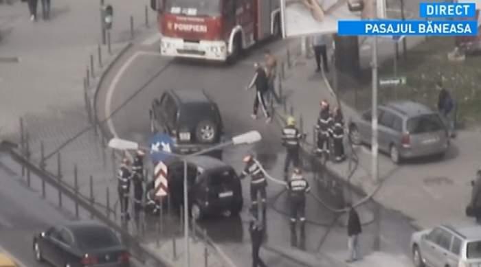 O maşină a luat foc în trafic, în nordul Capitalei