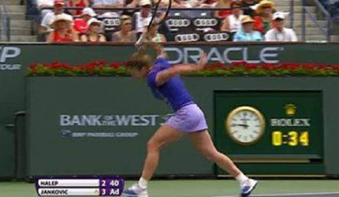 VIDEO / Simona Halep, criză de nervi în finala cu Jelena Jankovic! Evenimente incredibile la Indian Wells