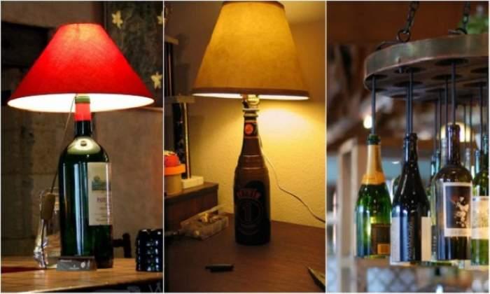 Nu arunca sticlele goale de vin! Vezi cum le poţi transforma uşor în adevărate piese decorative