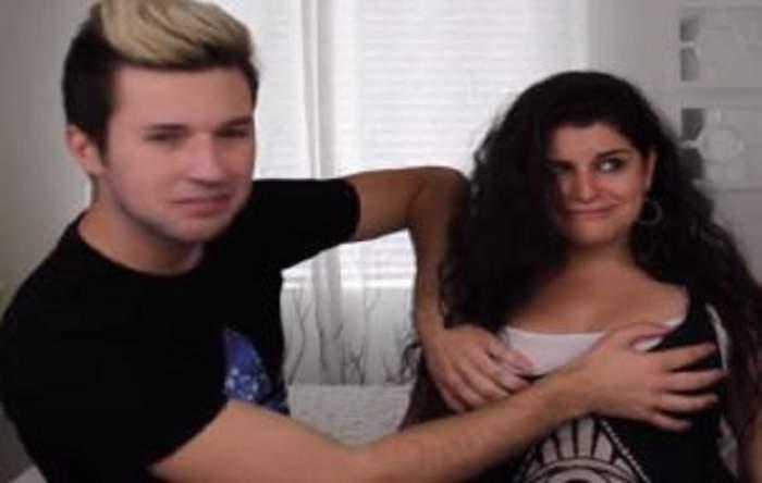 VIDEO / Cum reacţionează bărbaţii când pun mâna prima dată pe sâni! INCREDIBIL cât de tare!