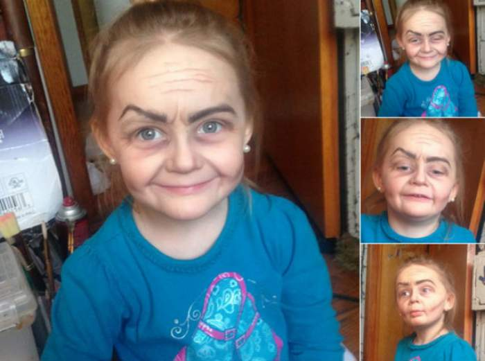 Arată ca o bătrânică în ciuda vârstei sale. O fetiţă de 3 ani a devenit noua vedetă a internetului după ce mătuşa ei a machiat-o