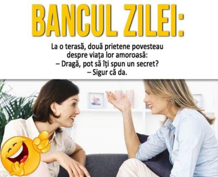 BANCUL ZILEI - MIERCURI: La o terasă, două prietene povesteau despre viața lor amoroasă...
