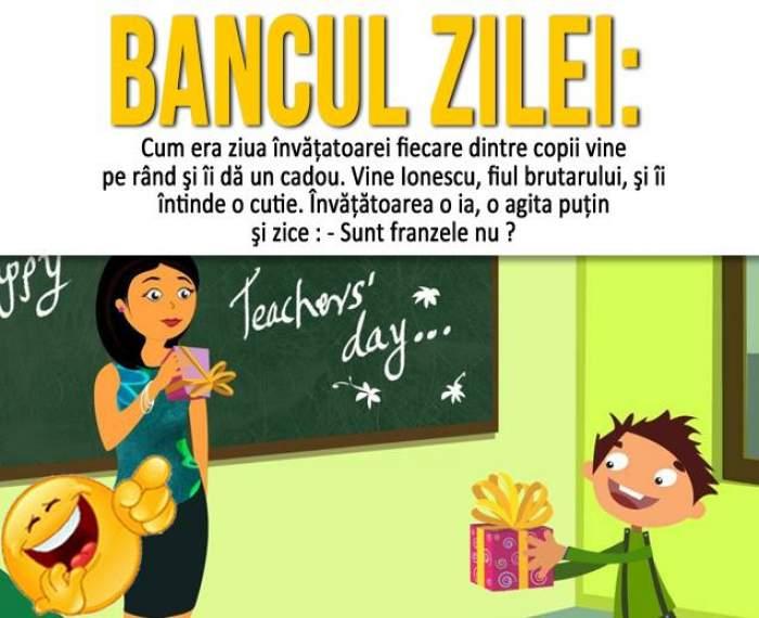 BANCUL ZILEI – MARŢI: Cum era ziua învăţatoarei, fiecare dintre copii vine pe rând şi îi dă un cadou...