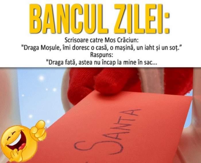 """BANCUL ZILEI - DUMINICĂ: Scrisoare catre Mos Crăciun: """"Draga Moșule, îmi doresc..."""""""