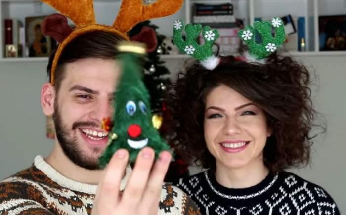 """VIDEO / Adriana şi Valentin, foşti concurenţi de la """"Mireasă pentru fiul meu"""", au împodobit bradul de Crăciun! Toţi au izbucnit în râs, după ce au văzut imaginile"""