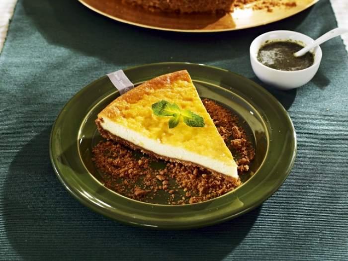 REŢETA ZILEI - DUMINICĂ: Tartă cu cremă de brânză şi sos de mentă