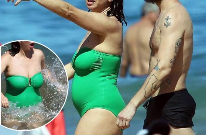 FOTO / O actriţă celebră şi-a etalat burta şi şuncile pe plajă. Până şi iubitul ei s-a jenat şi i-a tras de costum ca să acopere celulita