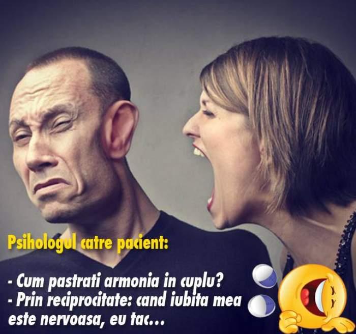 BANCUL ZILEI: VINERI - Psihologul către pacient: - Cum păstraţi armonia în cuplu?