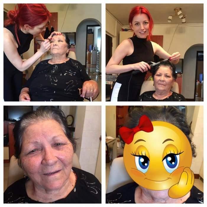 """Rezultatul e uluitor! Elena Gheorghe s-a apucat să-şi machieze bunica de 83 de ani. Cum arată bătrâna la final: """"Fabulos"""""""