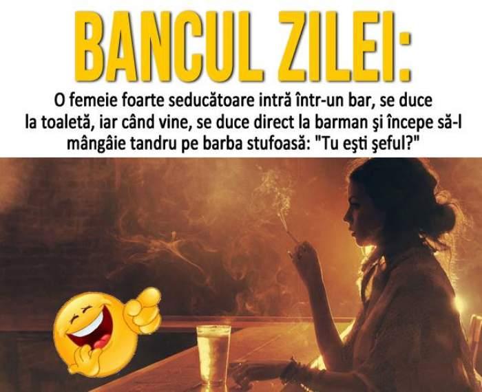 Bancul zilei: O femeie foarte seducătoare intră într-un bar, se duce la...