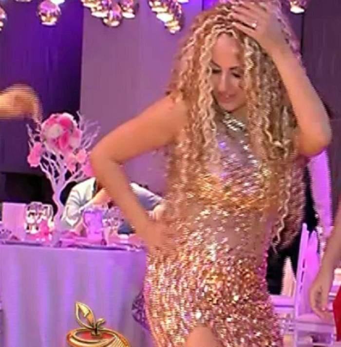 VIDEO / Imagini de la PETRECEREA de BOTEZ a fiicei Sânzianei Buruiană! Blonda a renunţat la pantofii cu toc şi a dansat pe mese