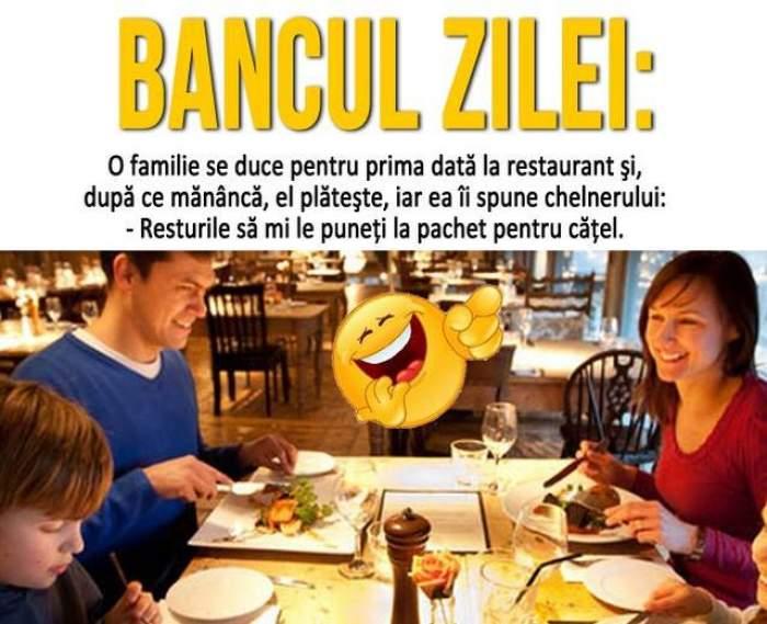 BANCUL ZILEI - MARȚI: O familie se duce pentru prima dată la restaurant şi, după ce mănâncă...