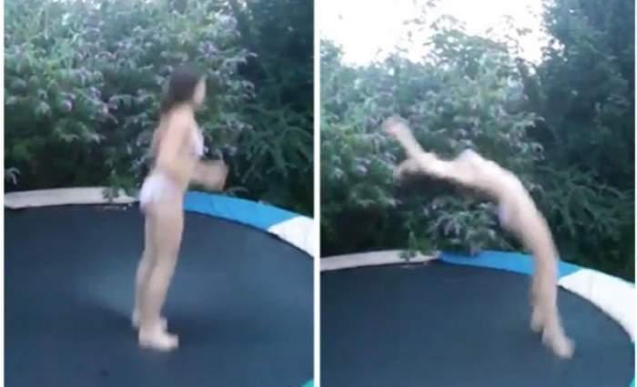 VIDEO / A îmbrăcat un costum de baie super sexy și a început să sară pe trambulină! Ce s-a întâmplat apoi e viral