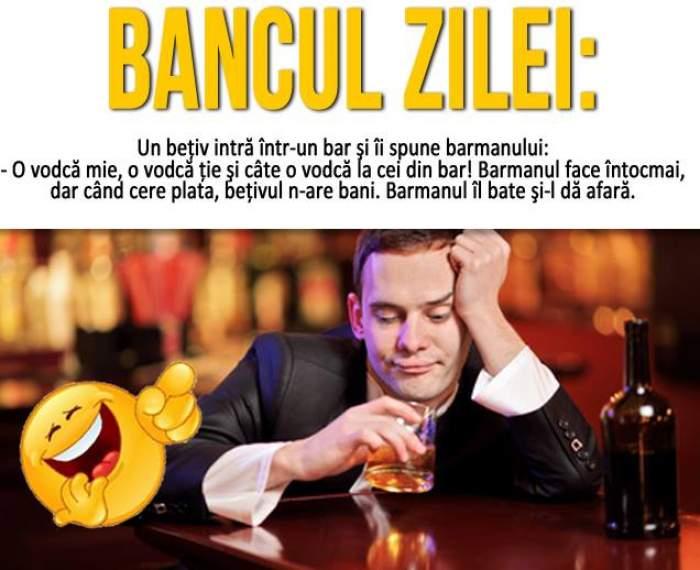 Bancul zilei / Un beţiv intră într-un bar şi îi spune barmanului...