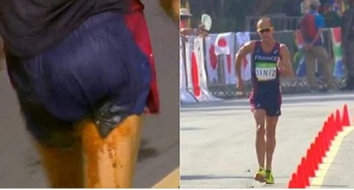 VIDEO / Ups! A pățit rușinea când toți ochii erau pe el! Un atlet francez nu a mai rezistat până la baie și a comis-o pe pistă, dar n-a renunțat la cursă