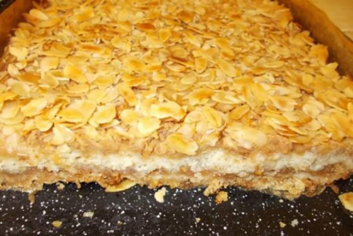 REŢETA ZILEI - MARŢI / Prăjitură cu mere şi fulgi de migdale, un desert delicios, uşor de gătit