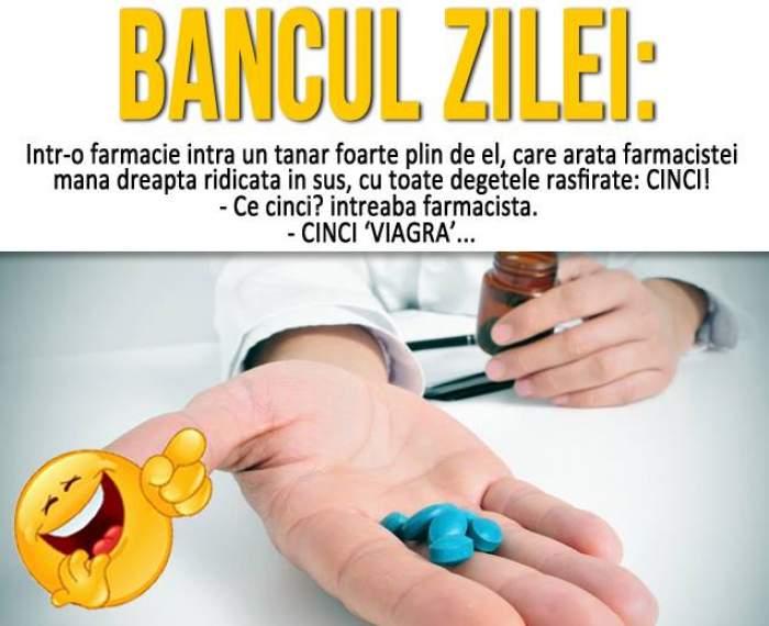 """BANCUL ZILEI - JOI: """"Într-o farmacie intră un tânăr foarte plin de el, care arată farmacistei mâna dreaptă..."""""""