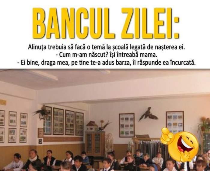 BANCUL ZILEI - JOI: Alinuța trebuia să facă o temă la școală legată de nașterea ei...