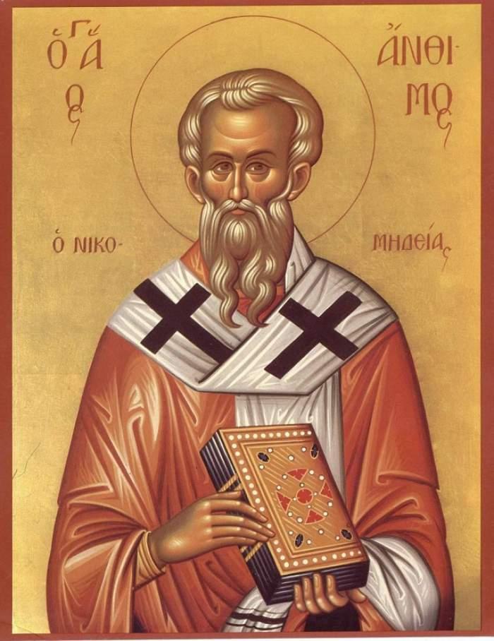 Sfântul Sfințit Mucenic Antim, episcopul Nicomidiei, este pomenit în calendarul creștin ortodox la 3 septembrie