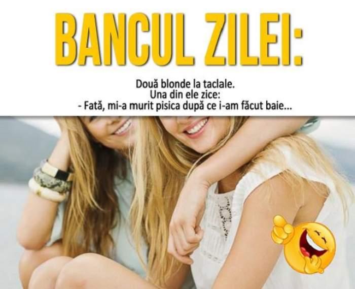 BANCUL ZILEI: Două blonde la taclale. Una din ele zice: - Fată, mi-a murit pisica după ce i-am făcut baie...