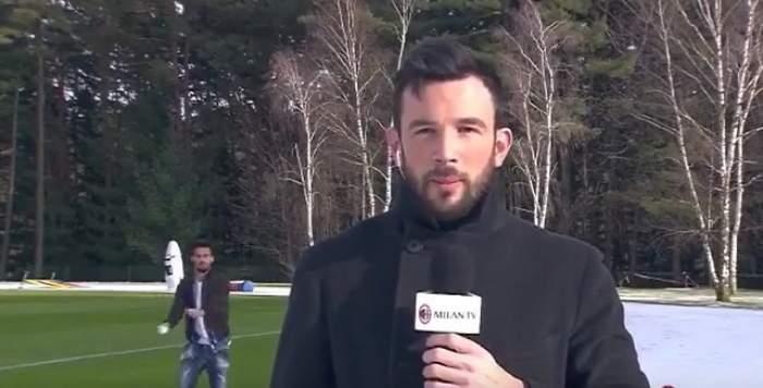 Un fotbalist de la AC Milan a atacat un jurnalist cu bulgări de zăpadă! Reacția reporterului / VIDEO