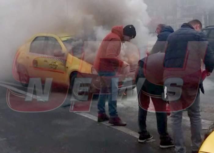 Încă un dezastru în Bucureşti! Zi blestemată! Un taxi a luat foc! Imagini exclusive!