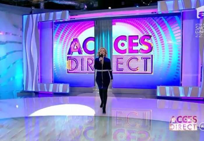 """Simona Gherghe a revenit la """"Acces direct"""", însărcinată: """"Suntem doi aici, se vede?"""""""
