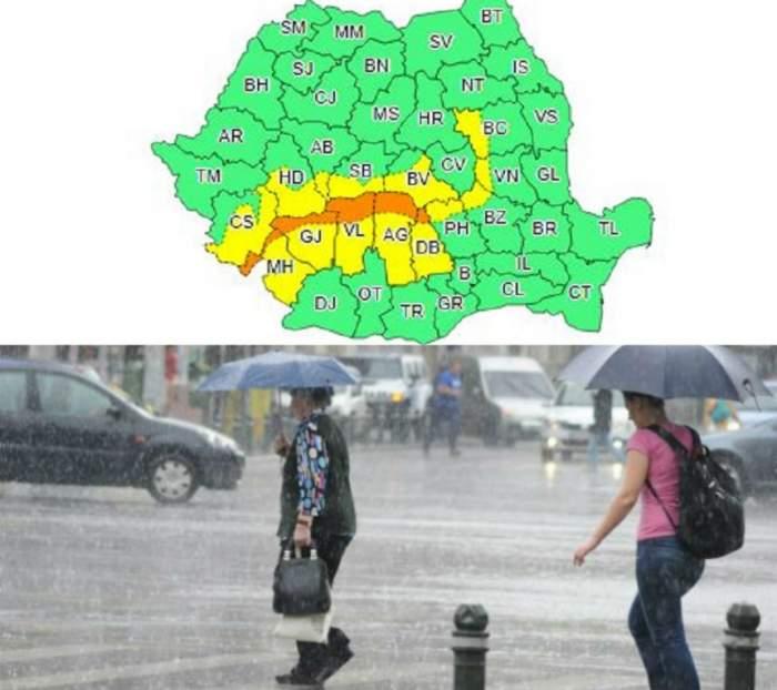 Se întorc ploile! Meteorologii anunță COD PORTOCALIU de ploi și vânt