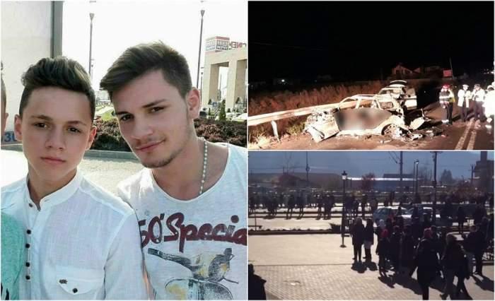 Imagini cutremurătoare de la înmormântarea celor doi frați care au murit în accidentul din Suceava! Sute de oameni au vărsat lacrimi
