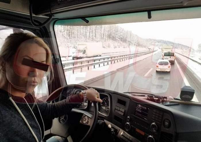 O şoferiţă sexy a lăsat mască mii de oameni, cu un simplu gest!