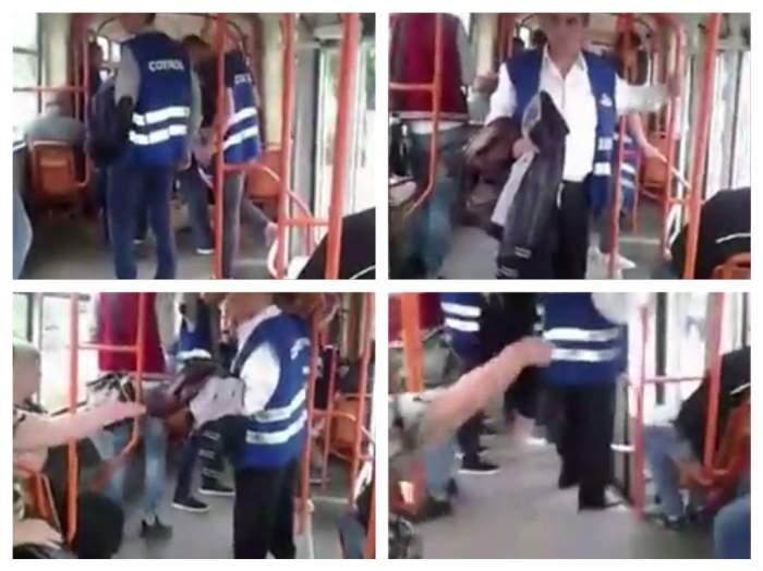 VIDEO / SCENE ŞOCANTE în tramvai! Controlorii i-au rupt mâna unui călător