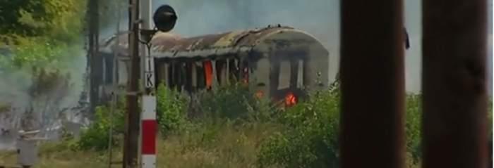 VIDEO / Incendiu în Gara de Nord. Mai multe vagoane au luat foc