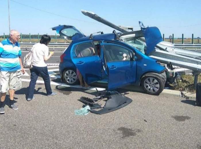 VIDEO / Accident terifiant pe Autostrada Soarelui! Mașina s-a făcut praf