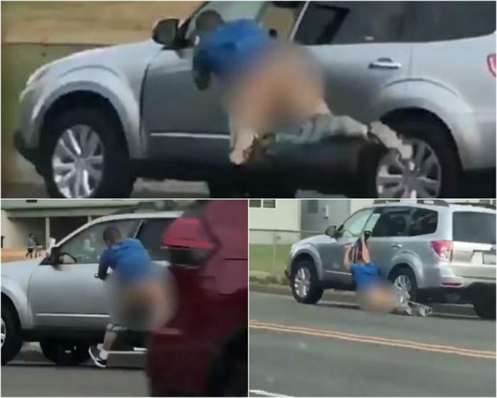 VIDEO / Un bărbat a fost târât în fundul gol cu mașina în mijlocul străzii! Voia să jefuiască șoferul
